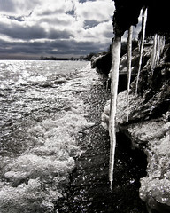 Eroding Growths (O'Quinn Photo) Tags: park winter lake ontario cold ice beach clouds erosion lakeshore etobicoke icicles oquinn bluster