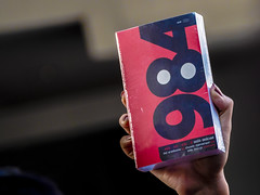 Stolen election (Kaew ~one&only~) Tags: thailand book george bangkok protest police 1984 orwell georgeorwell dictator junta activists thaicoup blackvalentine