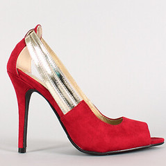 "metallic strap faux suede peep toe red • <a style=""font-size:0.8em;"" href=""http://www.flickr.com/photos/64360322@N06/16351552615/"" target=""_blank"">View on Flickr</a>"