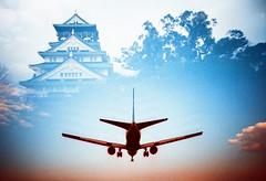 Flight to Osaka (Hodaka Yamamoto) Tags: morning sky castle silhouette airplane airport lomo lca xpro lomography crossprocessed xprocess doubleexposure crossprocess double lomolca multipleexposure crossprocessing osaka doubles multiexposure