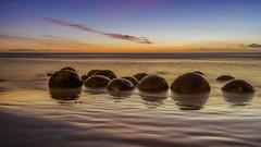Golden Eggs (Arief Rasa) Tags: morning newzealand reflection beach rock sunrise high surf tide wave folklore boulders nz maori hampden rockybeach moerakiboulders moeraki sunriseandsunset