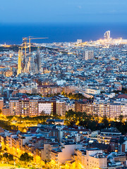 Barcelona (Mike Cialowicz) Tags: barcelona city travel urban landscape spain europe cityscape sony catalunya bluehour es barcino espania sagradafamlia a6000 bunkersdelcarmel sel1670z 1670mmf4