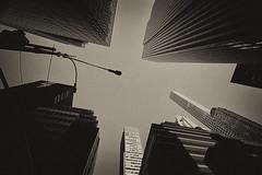 Looking up in New York (` Toshio ') Tags: newyorkcity bw usa newyork sepia america skyscraper buildings streetlight pattern toshio