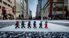 In the middle of Chuo Dori (Reiterlied) Tags: road street abbey japan toy tokyo ginza jay crossing lego cole ninja kai lloyd beatles minifig zane nya minifigure chuodori ninjago