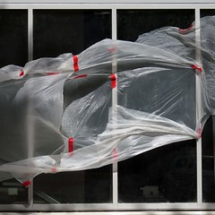billowing (weltreisender2000) Tags: atlanta windows red urban abstract site construction wind plastic tape billowing