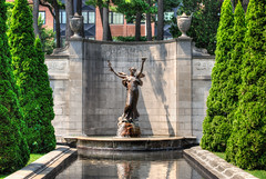 Saratog Springs, NY (Chicago_Tim) Tags: park new york newyork water fountain pool statue garden outdoors saratoga formal upstate congress evergreen springs shrubs
