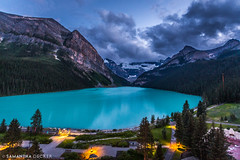 Stormy Skies Over Lake Louise (Samantha Decker) Tags: canada ab wideangle alberta rockymountains lakelouise banffnationalpark parkscanada canadianrockies uwa canonef1635mmf28liiusm canoneos6d samanthadecker