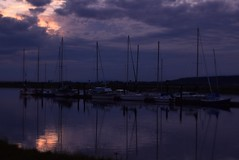 Wards Marina (careth@2012) Tags: sunset sky reflection clouds marina reflections boats dawn boat scenery view britishcolumbia scenic scene mast wardsmarina
