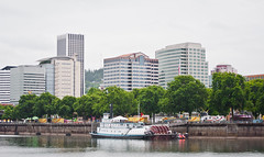 Paddle Steamwheeler Docked on the Waterfront (Orbmiser) Tags: oregon portland spring nikon cityscape waterfront willametteriver sternwheeler eastbank d90 55200vr