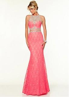 Chic Tulle & Lace Jewel Neckline Floor-length Sheath Sexy Prom Dress