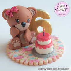 Teddy Bear Picnic Birthday Cake Topper (SugarSweetCakes (Angela)) Tags: birthday bear girl teddy caketopper 6th gumpaste shabbychic teddybearcake gumpastefigurine