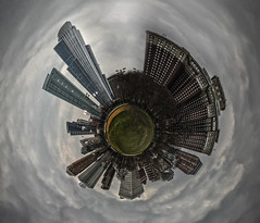 Lower Hutchinson Field (Jovan Jimenez) Tags: world park city panorama cloud chicago canon landscape eos rebel design is pano creative 360 il adobe tiny planet 1855mm polar efs xsi 450d