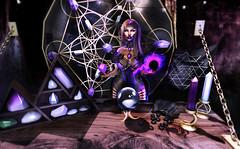 Brujera . (Venus Germanotta) Tags: secondlife fashion arcade spellbound moon witchcraft brujera violet purple fortuneteller psychic magic blackmagic aura fierce pose model aesthetic edit photoshop dark ominous hautecouture couture crystals gems stars decor enchantress