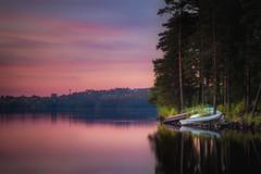 Boats (Olli Tasso) Tags: longexposure trees sunset summer lake reflection june pine night forest suomi finland landscape evening boat scenery view peaceful rowing serene tampere maisema kes y suvi auringonlasku keskuu pispala esker pyhjrvi pirkkala pitkvalotus suviy