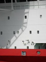 Helipad shadow (Nekoglyph) Tags: bridge windows shadow red white industry metal river boat dock ship vessel middlesbrough teesside windfarm tees helipad jackup mpiadventure