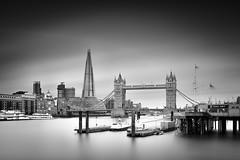 Tower Bridge and The Shard II (Richard Reader (luciferscage)) Tags: london towerbridge theshard thames bridge city monochrome bnw blackandwhite mono longexposure fuji river
