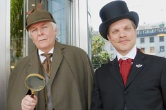 Mr Sherlock Holmes (David Jones) and Dr John Watson  (Nicolas Regamey) - photo by Bob Ellis