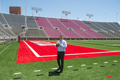 Ready for Some Football (aaronrhawkins) Tags: football universityofutah utes riceecclesstadium video board construction ugim saltlakecity utah college university conference field artificialturf grass bright colors quarterback throw toss aaronhawkins