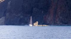 Sail Boat At Anchor (rschnaible) Tags: ocean sea usa seascape water landscape outdoors hawaii us pacific sightseeing cliffs tropical sailboats tropics lanai