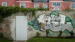 """No gods, no masters"", writing on the wall (Housemill) Tags: wall lumix graffiti sweden panasonic pointandshoot anarchism sverige mur jnkping lx5 nogodsnomasters"
