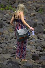On The Rocks (swong95765) Tags: woman female rocks dress blonde balance hazardous hazard sandles