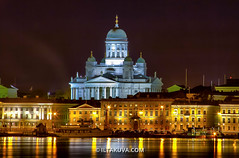 Helsinki Cathedral (iltakuva photography) Tags: night reflections helsinki ship waterfront cathedral harbour marketsquare