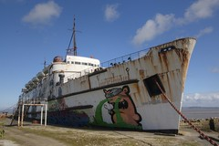 painters (Tony Shertila) Tags: blue sky weather wales rust europe day ship britain outdoor clear graffitti corrosion mostyn dukeoflancaster 20160405121139