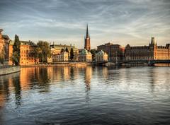 Stockholm at Dusk (neilalderney123) Tags: reflection water landscape cityscape sweden stockholm dusk olympus omd 2016neilhoward