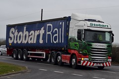 Stobart H2451 PO65 UYH Ann Connie A5 Rugby Truck Stop 18/3/16 (CraigPatrick24) Tags: road truck rugby cab transport container lorry delivery vehicle trailer a5 scania logistics stobart eddiestobart stobartrail skeletaltrailer stobartgroup scaniar450 rugbytruckstop annconnie po65uyh h2451