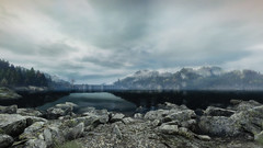 VOEC - 013 (Screenshotgraphy) Tags: bridge sunset mountain lake game nature water colors contrast forest landscape soleil screenshot gare lumire lac ethan steam gaming beaut carter concept paysage vanishing campagne foret beautifull jeu naturelle urbain