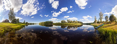 Pola river of Novgorods county (A. Stavrovich) Tags: trees summer sky panorama sun nature water beautiful grass june clouds canon reflections scenery village russia outdoor wideangle rivers sunrays brightness pola novgorod 2016 canonef1740mmf4l canon5dmarkii