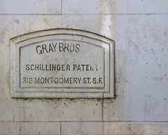 Gray Bros (David Gallagher) Tags: sanfrancisco sign concrete unfoundinsf schillingerpatent