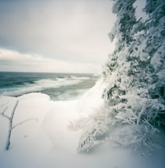 gichigami (pinhole) (ais_t) Tags: road camera trip travel winter lake film ice up drive harbor frozen 2000 waves image kodak michigan great lakes wave superior pinhole upper copper peninsula frigid zero ektar keweenaw gichigami