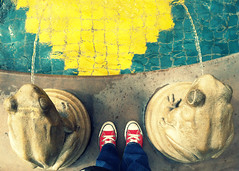027 january 27, 2013 (mrbosslady) Tags: red feet fountain yellow tile shoes frog converse whereistand