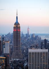 Red, White and Blue (.annajane) Tags: nyc newyorkcity sunset usa newyork skyline skyscraper cityscape view dusk manhattan worldtradecenter rockefellercenter empirestatebuilding topoftherock freedomtower 1wtc