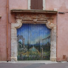 Painted Door, Rue de la Fontaine, Roussillon (shadow_in_the_water) Tags: door france painting doorway porte provence ochre roussillon vaucluse ruedelafontaine