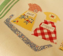 LunchTowel16 (eamylove) Tags: vintage tea towel fabric patchwork applique 30s zakka repro vintagekitchen patchworkplease