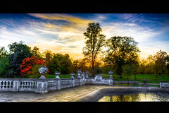 Italian Gardens, Hyde Park, London (byronlumorrell) Tags: park trees sunset lake london water gardens garden pond italian scenery glow hyde fountains