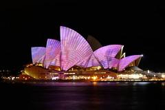 Opera House (Karamveer_Nagi) Tags: pink house water night lights opera flickr colours purple sydney tourist 2013