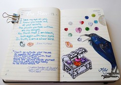 """ Raven & Jewels "" (Milagritos9) Tags: moon luna treasurechest birdportrait joyas birdillustration illustratedjournal silverbird ravenpoem illustratedpoem birdjournal inspirationaljournal cofredeltesoro moleskineartpages illustratedbirdbook ravenillustration ravenportrait moleskinebirdproject moleskinebirdsjournal dibujocuervo poemacuervo moleskinediary2013 milagritosflores ravenjewels"