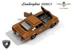 Lamborghini 350GT (lego911) Tags: auto italy classic sports model italian lego render 350 1960s gt 69 lamborghini coupe challenge touring cad sportscar lugnuts povray v12 moc berlinetta ldd superleggera 350gt miniland summerof69 lego911