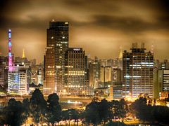 Downtown Sao Paulo at night. (Diego3336) Tags: windows brazil urban building tower latinamerica southamerica glass sign brasil skyline skyscraper buildings hotel lowlight neon cityscape br view skyscrapers nightshot saopaulo overcast sp hyatt hdr antenna antennas concretejungle
