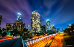 The OneTen Skyline (Pixamundo) Tags: california ca longexposure light night la losangeles nikon downtown cityscape skyscrapers trails bluehour dtla hdr d800 110fwy discoverla pixamundo