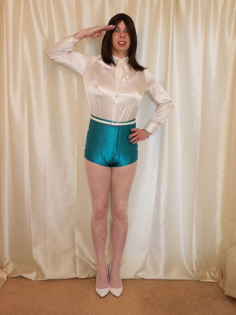 Shot ropes satin shorts and pantyhose the
