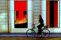 street in  bici  con  vetrine colorate (gpaolini50) Tags: street cityscape colore milano bici bicicletta mygearandme vision:text=092