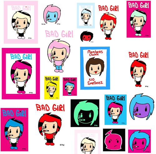 Sign Club Cigarette Nasty Bad Girl Posters Harajuku Punk Hair Anime Chibi Superhero Animation Strip Android Manhua Game Manga Eyes Day Supa Oshikko