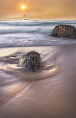 Colours at sunset || Byron Bay (edwinemmerick) Tags: ocean longexposure sunset sea sky seascape motion mountains beach water weather canon eos sand rocks waves sundown australia le nsw 7d slowshutter byronbay edwin oceanscape emmerick edwinemmerick