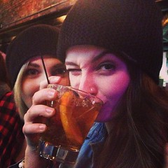 """It takes real women in hats to drink manhattans. #urbantap #bestfriends #sister #family #basilhayden #beanies #wink #sip #manhattan #pittsburgh #southside #urbanrockdrinks • <a style=""""font-size:0.8em;"""" href=""""https://www.flickr.com/photos/62467064@N06/11429266546/"""" target=""""_blank"""">View on Flickr</a>"""