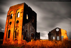 Blast Furnace Park || HISTORIC LITHGOW || NSW (rhyspope) Tags: new old blue light sky cloud pope mountains building brick texture abandoned broken window grass wall wales architecture night clouds canon circle landscape evening high skies arch purple dynamic hole south bricks central ruin australia arches filter hour nsw weathered tall aussie wreck range crusty rhys hdr warming tablelands lithgow 500d rhyspope