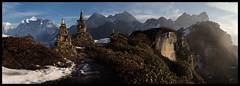 morning on kauma la (doug k of sky) Tags: nepal panorama landscape la doug panoramic rhododendron himalaya makalu barun mountainscapes kauma kofsky